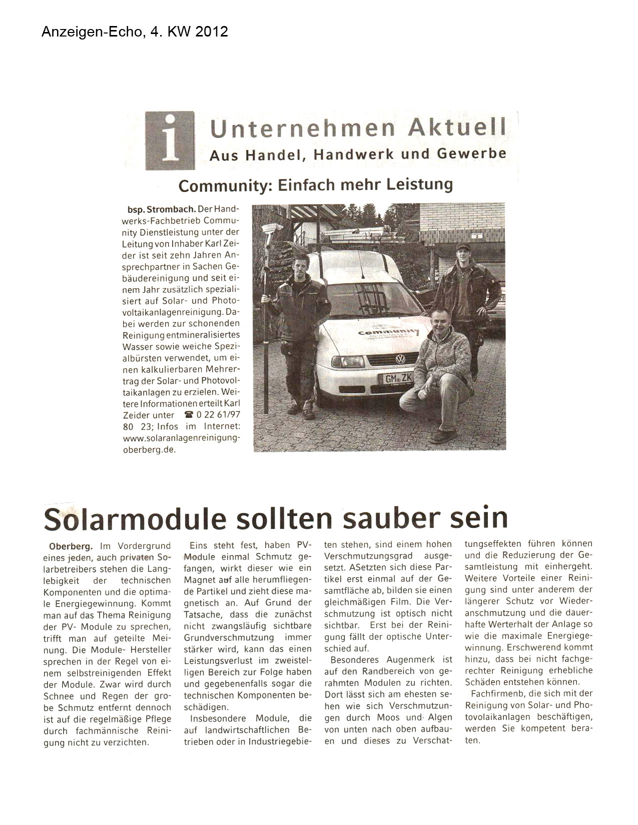 Community-Dienstleistung in der Presse