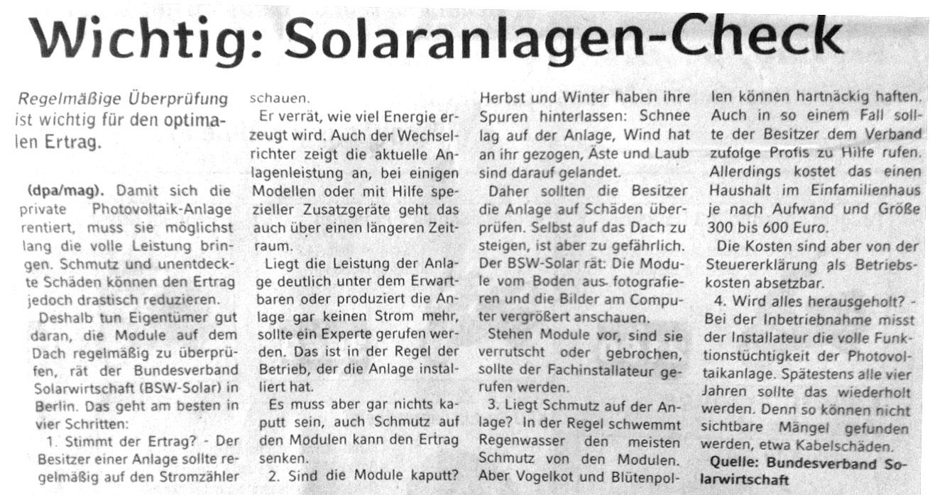 Artikel über Solaranlagen-Check
